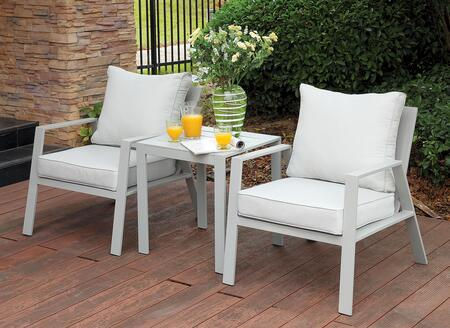 Furniture of America CMOC1765AC Cordelia Series  Aluminum Frame  Patio Arm Chair