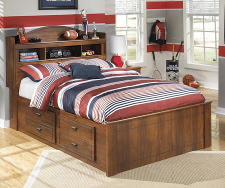 Milo Italia Vasquez Collection BR-355CKSTRGEBED Size Bookcase Bed with Underbed Storage, Side Roller Glides for Smooth Operating Drawers and Versatile Captions Storage Deep Drawers in Timber Cherry