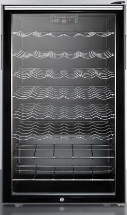 Summit SWC525LX Freestanding Glass Door Wine Cellar with 40 Bottles Capacity, 6 Wine Shelves, Automatic Defrost and Factory Installed Lock, in Black