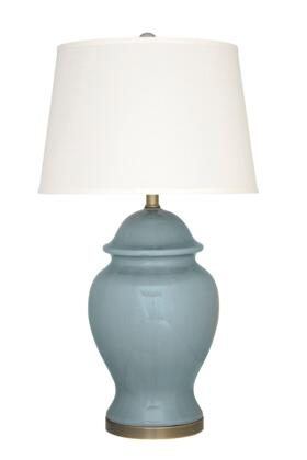 "Signature Design by Ashley Darena L1004xx 32"" Ceramic Table Lamp with Crackle Glazed Ceramic and Antique Brass Finished Metal, Hardback Shade and Traditional Style in Blue"
