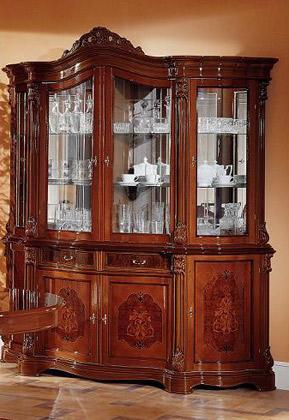 VIG Furniture VVGFMREGINA-4DR-CHINA- Regina China Cabinet with 4 Glass Panels, 2 Drawers, 4 Doors, 3 Glass Shelves and Mirrored Back in