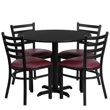 "Flash Furniture HDBF100XX-GG 36"" Round Laminate Table Set with 4 Black Ladder Back Banquet/Restaurant Chairs with Burgundy Vinyl Seat and Heavy Duty Construction"