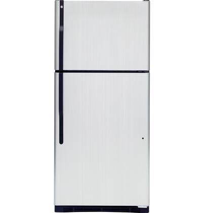 GE GTK18IBDBS Freestanding Top Freezer Refrigerator with 18.0 cu. ft. Total Capacity 3 Glass Shelves 5.09 cu. ft. Freezer Capacity