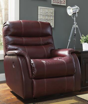 "Signature Design by Ashley 39300 Bridger 36"" Rocker Recliner with Triple-Tier Back, Jumbo Stitching, Wrapped Padded Arms and Leather Match Upholstery in Color"