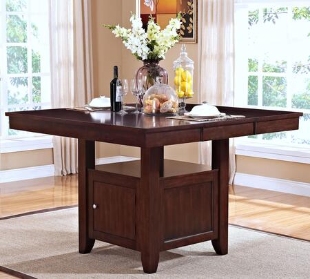 "New Classic Home Furnishings 45-10-10 Kaylee 54"" Counter Table with Extension Leaf, Tapered Legs, Bottom Storage Door, Shelf and Contemporary Design,"