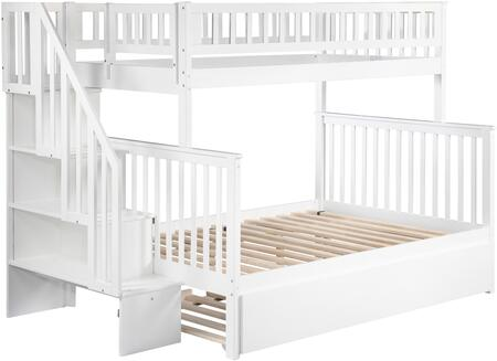 Atlantic Furniture AB5675 Woodland Staircase Bunk Bed Twin Over Full With Urban Trundle Bed