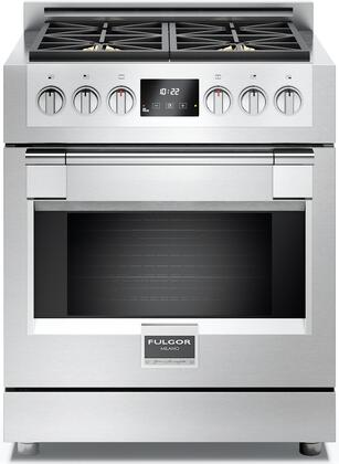 Fulgor Milano F6PGR3 600 Series Freestanding Sofia Gas Range with Dual Convection Oven, 3 Halogen Lights, Electric Ignition and Re-ignition, 2 Chrome Racks and 4 Pane Heat Resistant Glass: Stainless Steel