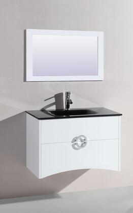 "Legion Furniture WTH22120 32"" Sink Vanity and Mirror with Tempered Glass Top and 1 Pre-Drill Faucet Hole in"