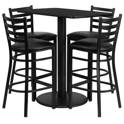 """Flash Furniture RSRBXX1X-GG 24"""" x 42"""" Rectangular Laminate Table Set with 4 Ladder Back Metal Bar Stools with Black Vinyl Seat, Commercial Design, 18 Gauge Steel Frame, and Heavy Duty Construction"""