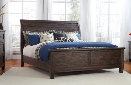 Milo Italia Conrad BR-752PANEL X Size Panel Bed with in All Pine Wood Construction, Wire Brushed Details and Natural Distressing in Dark Brown