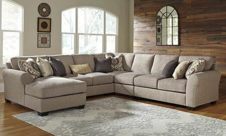 Benchcraft Pantomine 39102CHALWACL 5-Piece Sectional Sofa with X Arm Facing Chaise, Armless Loveseat, Wedge, Armless Chair and X Arm Facing Loveseat in Driftwood Color