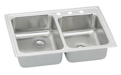 "Elkay PSR250 Gourmet Pacemaker Stainless Steel 33"" x 22"" Double Basin Top Mount Kitchen Sink:"