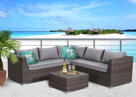SunHaven Marcia Collection SUN-600 4 PC Deep Seating Group with Left End Sectional Sofa, Right End Sectional Sofa, Corner Sofa, Coffee Table and Sectional Clips in Grey Color