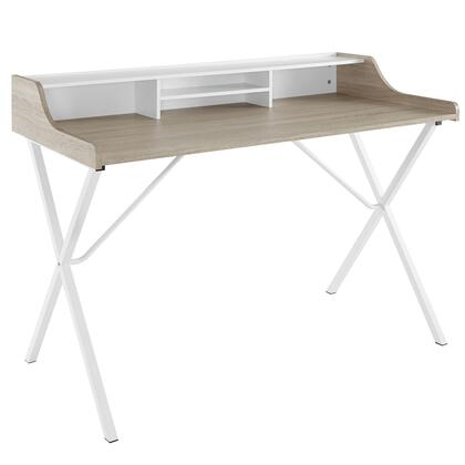 Modway EEI-1327 Bin Desk with Modern Design, Four Cubby Areas, Foot Pads, Wood Grain Patterned Melamine Top and Powder Coated White Metal Legs