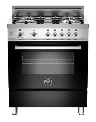 "Bertazzoni PRO304GASNELP 30"" Professional Series Gas Freestanding Range with Sealed Burner Cooktop, 3.6 cu. ft. Primary Oven Capacity, Storage in Black"