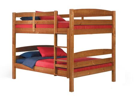 Chelsea Home Furniture 3641540X Full Over Full Bunk Bed, with Plantation Pine Construction, Rustic Style, and Hand Stained Finish in Honey