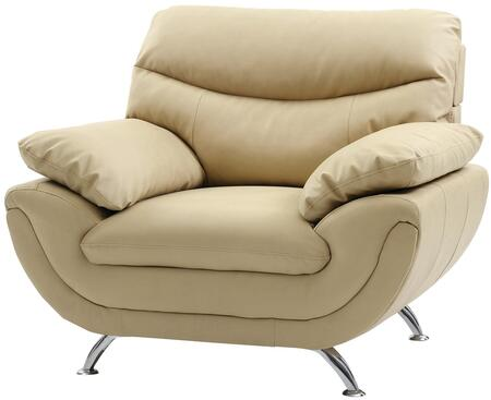 Glory Furniture G435C Beige Faux Leather Armchair with Metal Frame