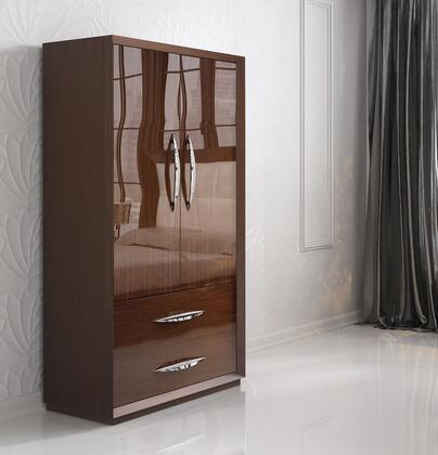 "ESF Carmen Collection i11611I11324 40"" Wardrobe with 2 Drawers, 2 Doors, Self-Closing Mechanism, Silver Metal Hardware and Wood Construction"