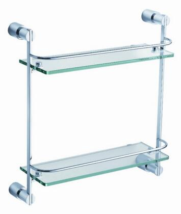 Fresca FAC0146 Magnifico 2 Tier Clear Glass Shelf with Heavy Duty Brass Frame in