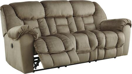 """Benchcraft 3660178 Jodoca 91"""" Reclining Sofa with Pillow Top Arms, Piped Stitching, Metal Frame and Fabric Upholstery in Driftwood Color"""