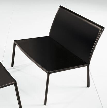 Modloft PTN114C5 Sanctuary Series Leather with Metal Frame in Black