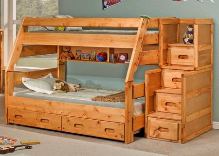 Chelsea Home Furniture 3544720-47 Twin Over Full Bunk Bed with Rustic Style, and All Pine Wood Construction in Cinnamon