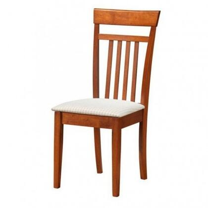 """Glory Furniture 39"""" Side Chair with Slat Back Design, White Fabric Seat Upholstery, Tapered Legs and Wood Construction in"""