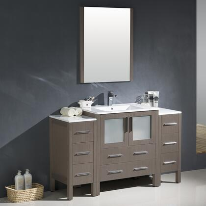"Fresca Torino Collection FVN62-123012XX-UNS 54"" Modern Bathroom Vanity with 2 Side Cabinets, 2 Frosted Glass Panel Soft Closing Doors and Integrated Sink in"