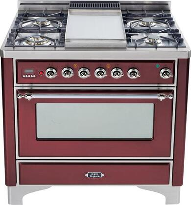 "Ilve UM90FMPRBX 36"" Majestic Series Dual Fuel Freestanding Range with Sealed Burner Cooktop, 2.8 cu. ft. Primary Oven Capacity, Warming in Burgundy"