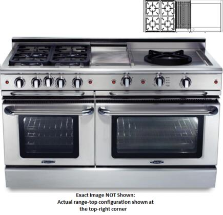 """Capital Precision Series CSB604BGG-X 60"""" Freestanding Dual Fuel Electric Range with 4 Sealed Burners, Primary 4.6 Cu. Ft. Oven Cavity, Secondary 3.1 Cu. Ft. Oven Cavity, and Moto-Rotis, in Stainless Stee"""