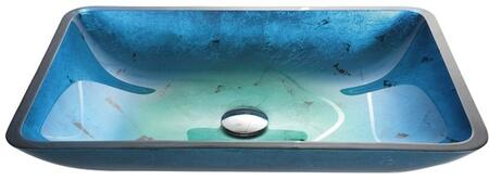 """Kraus GVR2RE Multicolor Series 22"""" Rectangular Vessel Sink with 15-mm Tempered Glass Construction and Easy-to-Clean Polished Surface"""