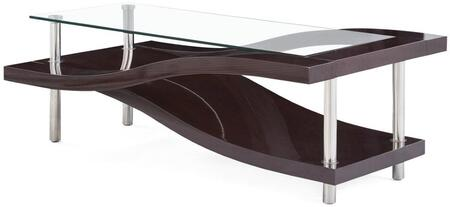 """Global Furniture USA T759XC 50"""" Coffee Table with Clear Glass Table Top, Double Slide Design and Polished Metal Legs in"""