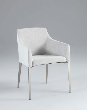 Chintaly Katie Collection KATIEAC Accent Side Chair with Nickel Brushed Tapered Legs and Fabric Upholstery in