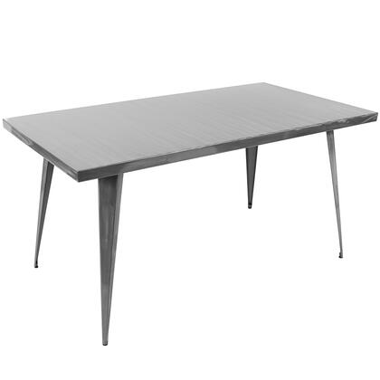 "LumiSource Austin DT-TW-AU6032 59"" Rectangle Dining Table Dining Table with Matte Finish, Metal Frame and Tapered Legs in"