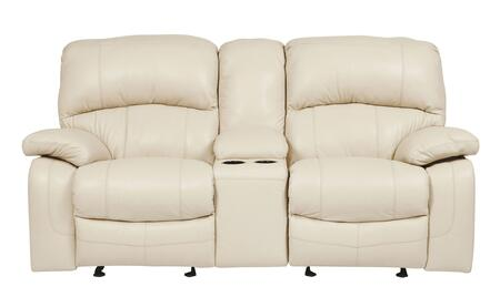 Signature Design by Ashley Damacio U9820X91 Glider Power Reclining Loveseat with Storage Console, 2 Cup Holders, Divided Bustle Back Cushions and Leather Upholstery in
