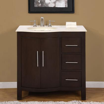 """Silkroad Exclusive HYP0912WMUWC36 36"""" Single Sink Cabinet with 3 Drawers, 1 Door, Carrara White Marble Top and Undermount White Ceramic Sink (3 Holes) in Dark Walnut Finish"""