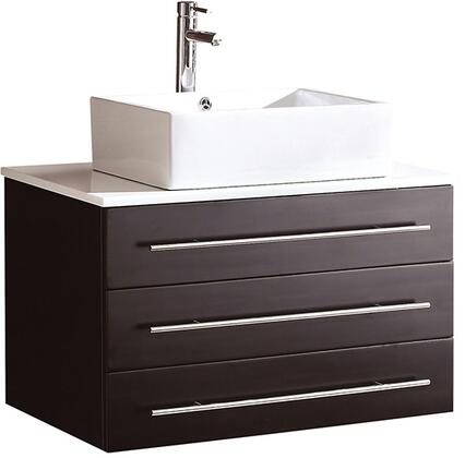 Fresca FCB6183XXCWHV Modello Modern Bathroom Vanity with Top and Vessel Sink