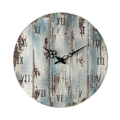 "Sterling 16"" Outdoor Wall Clock with Roman Numerals, Round Shape and Wood Materials in Belos Blue Color"