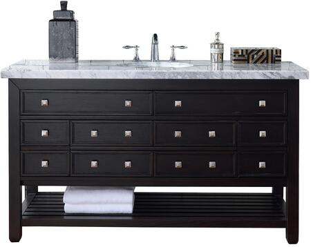 "James Martin Vancouver Collection 505-V60S-CEO- 60"" Cerused Espresso Oak Single Vanity with Eight Drawers, Bottom Shelf, Satin Nickel Hardware and"