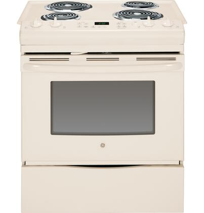 "GE JS250 30"" Slide-In Electric Range with 4.4 cu. ft. Capacity, 4 Coil Elements, Self-Clean, Electronic Temperature Display, Dual Element Bake, Chrome Drip Bowls, and Removable Storage Drawer in"