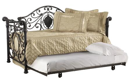 Hillsdale Furniture 1039D Mercer Daybed with Suspension Deck, Sleigh Design, Large Medallion Centered, Scrollwork and Tubular Steel Construction in Antique Brown Color