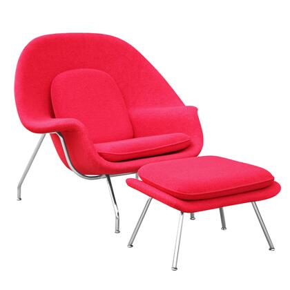 Fine Mod Imports FMI1134RED Woom Series Armchair Fabric: 100% Wool Fiber Glass Frame Accent Chair