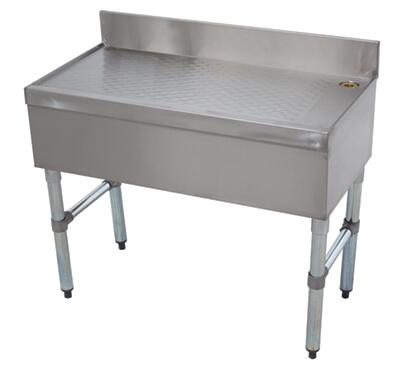 """Advance Tabco 18-X Freestanding Underbar Drainboard with 4"""" Backsplash, Adjustable Bullet Feet and Side Cross-Bracing in Stainless Steel"""