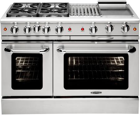 "Capital Precision Series MCR484BG-X 48"" Freestanding X Range with 4 Sealed Burners, Primary 4.6 Cu. Ft. Oven Capacity, and Secondary 2.1 Cu. Ft. Oven Capacity, in Stainless Steel"