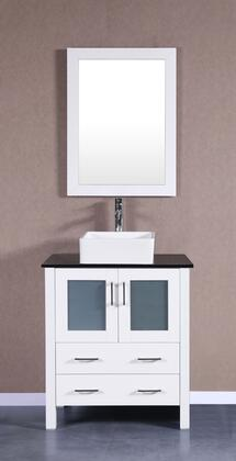 Bosconi Bosconi AW130CBEBGX Single Vanity with Soft Closing Doors , Drawers,Phgoeniz Stone Top, Faucet, Mirror in White and White Vessel Oval Ceramic Sink
