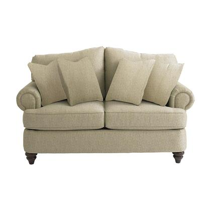 """Bassett Furniture Barclay Collection 3999-42FC/FC120-x 65"""" Loveseat with Fabric Upholstery, Rolled Arms, Turned Bun Feet, Piped Stitching and Traditional Style in"""