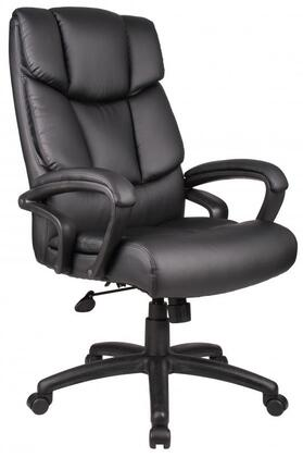 "Boss B870 45"" NTR Executive Chair with Waterfall Seat Design, Upright Looking Position, Adjustable Tilt Tension and Seat Height Adjustment in Black Top Grain Leather"
