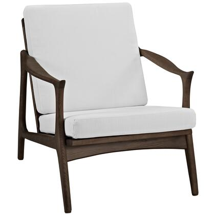 Modway EEI1447WALWHI Pace Series Armchair Fabric Wood Frame Accent Chair