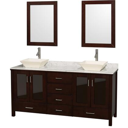 "Wyndham Collection WCV01572ES Lucy 72"" Double Bathroom Vanity Set with x Countertop, X Vessel Sinks, Four Tinted Glass Doors, Six Drawers and a Pair of Matching Mirrors in Espresso"