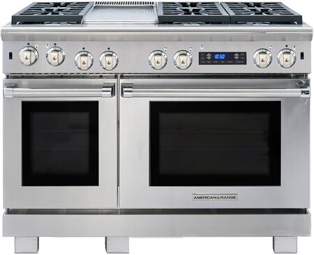 """American Range ARR-486GDDF 48"""" Medallion Dual Fuel Range with 4.7 cu. ft. Primary Oven Capacity, 2.7 cu. ft. Secondary Oven Capacity, 6 Sealed Burners and 11"""" Griddle, in Stainless Steel:"""